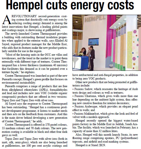 Hempel Cuts Energy Costs